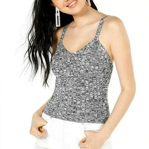 Black White Sweater Cami Knitted Tank Top